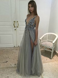Grey Deep V Neck Sleeveless Beaded Bodice Prom Dresses With Open Back