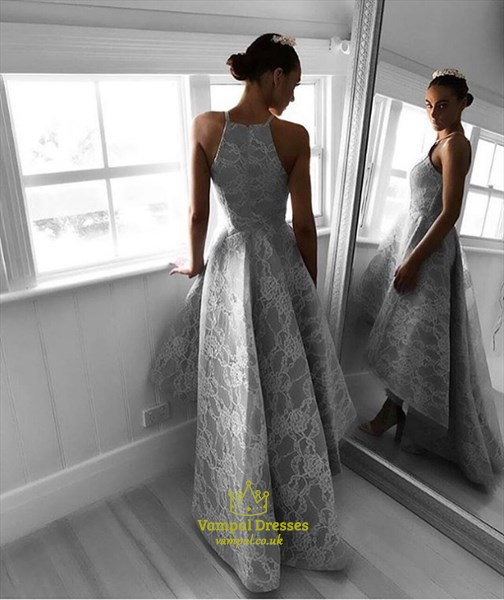 Grey High Neck Sleeveless Lace Overlay High Low Prom Evening Dresses