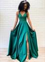 Emerald Green V Neck Beaded Lace Applique Criss Cross Back Prom Dress