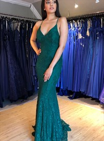 Emerald Green Mermaid Deep V-Neck Lace Overlay Open Back Prom Dresses