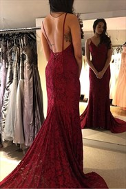 Burgundy Deep V-Neck Mermaid Lace Overlay Backless Long Evening Dress