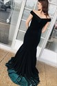 Dark Green Mermaid Off The Shoulder Floor Length Prom Evening Dresses