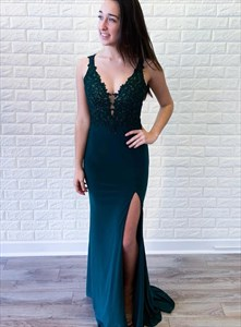 Teal Chiffon V-Neck Sleeveless Lace Applique Evening Dress With Split