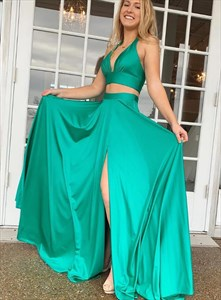 Turquoise Two Piece V-Neck Halter Sleeveless Prom Dresses With Split