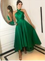 Dark Green A-Line Halter Pleated Satin High Low Open Back Prom Dresses