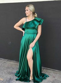 Emerald Green One Shoulder Side Split Long Prom Dress With Ruffle Neck