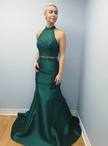 Teal Two Piece Mermaid Lace Bodice Halter Prom Dress With Keyhole Back