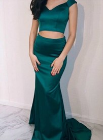 Dark Green Two Piece Off The Shoulder Mermaid Floor Length Prom Dress