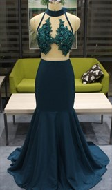 Teal Mermaid High Neck Lace Applique Sheer Illusion Bodice Prom Dress