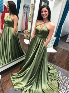 Olive Green Keyhole Front Spaghetti Strap Long Prom Dress With Pocket