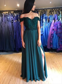 Teal Green Off The Shoulder Lace Applique Bodice Prom Dress With Split