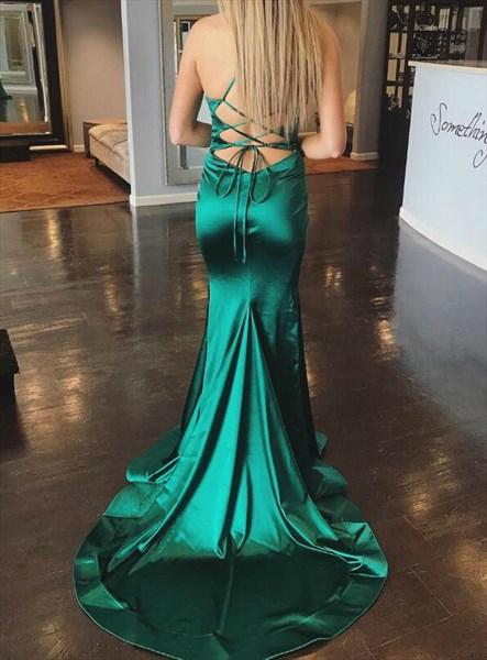 Emerald Green Mermaid High Neck Criss-Cross Back Prom Dress With Train