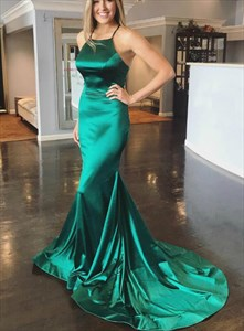 Emerald Green Mermaid High Neck Criss-Cross Back Prom Dress With Train