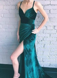 Dark Green Spaghetti Strap Pleated Long Prom Dress With Back Cut Out