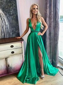 Dark Green Deep V-Neck Beaded Waist Prom Dress With Slits On The Side