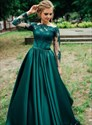 Green Off The Shoulder Lace Applique Prom Dress With Long Sheer Sleeves
