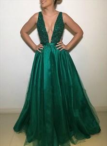 Dark Green Deep V-Neck Sleeveless Beaded Evening Dress With Sheer Back