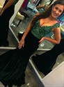 Dark Green Mermaid V-Neck Long Sleeveless Prom Dress With Beaded Bodice