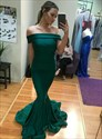 Emerald Green Mermaid Off The Shoulder Floor Length Prom Evening Dress