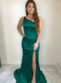 Emerald Green Mermaid One Shoulder Long Prom Dresses With Back Cut Out