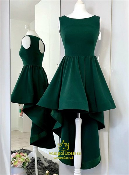 Dark Green A-Line Sleeveless High Low Party Dresses With Keyhole Back