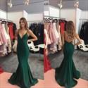 Emerald Green V Neck Mermaid Spaghetti Strap Backless Long Prom Dress