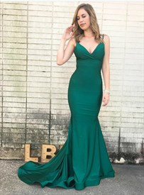 Emerald Green V Neck Mermaid Spaghetti Strap Backless Long Prom Dress