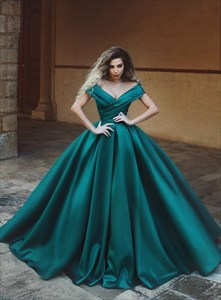 Dark Green V Neck Off The Shoulder Pleated Satin Ball Gowns Prom Dress