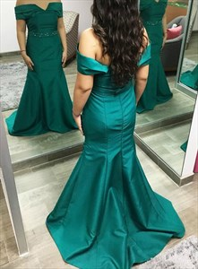 Teal Mermaid Off The Shoulder Floor Length Evening Dress With Beading