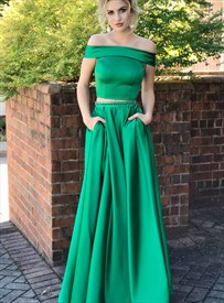 Green Two Piece Off The Shoulder Long Prom Evening Dress With Pockets