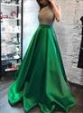 Green Halter Beaded Bodice Satin Evening Prom Dresses With Open Back