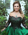 Green Off The Shoulder Sequin Ball Gowns Prom Dress With Long Sleeves