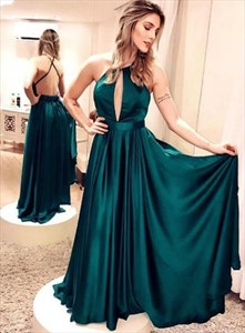Drak Green Keyhole Front High Neck Prom Dresses With Criss-Cross Back
