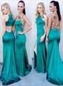 Dark Green Trumpet/Mermaid Floor Length Prom Dresses With Cut Out Back