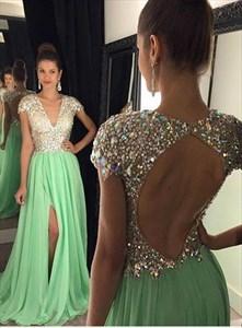 Jade Chiffon V Neck Beaded Sheer-Bodice Evening Dress With Cap Sleeves
