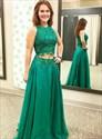 Emerald Green Two Piece Chiffon High Neck Lace Bodice Long Prom Dress
