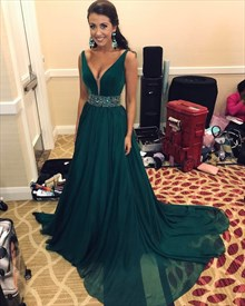 Dark Green Chiffon V-Neck Sleeveless Evening Dresses With Beaded Waist