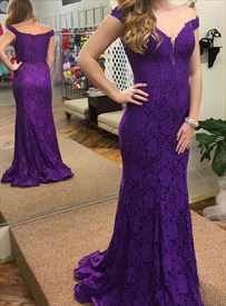 Purple Lace Overlay Mermaid Off The Shoulder Plunge V Neck Prom Dress