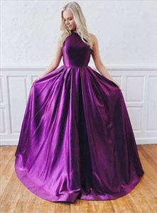 Purple Halter Satin Backless Floor Length Prom Dress With Cut Out Back