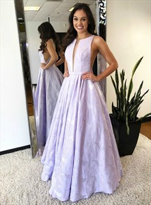 Lavender A-Line Plunge V Neck Sleeveless Embroidered Lace Prom Dresses