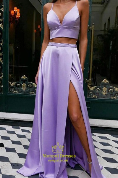 Lavender Two Piece V-Neck Spaghetti Straps Prom Dress With Bow On Back