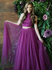 Purple Two Piece High Neck Beaded Bodice Tulle Skirt Long Prom Dress