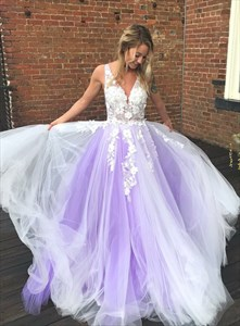 Lavender V-Neck Sheer Illusion Bodice Prom Dresses With Lace Appliques