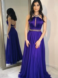 Purple Halter High Neck Jeweled Chiffon Long Prom Dress With Open Back