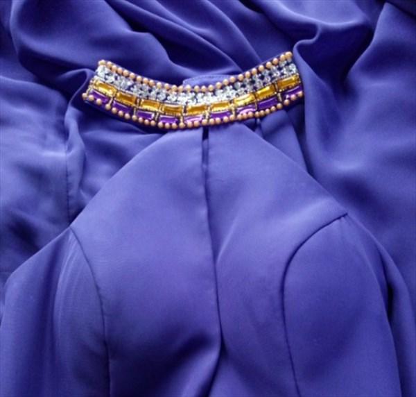Purple Halter High Neck Jeweled Chiffon Long Prom Dress With Open Back