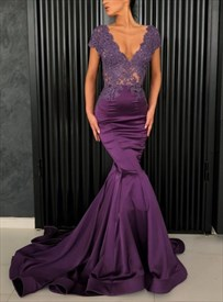 Purple Mermaid Beaded Sheer-Bodice Lace Applique Cap Sleeve Prom Dress