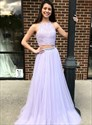 Lavender Two Piece Halter Lace Applique Bodice Prom Dress With Beading