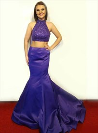 Purple Two Piece Mermaid Beaded Bodice Prom Dresses With Keyhole Back