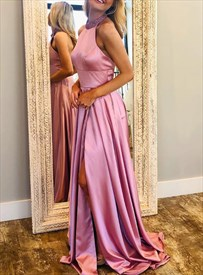 Pink Halter High Neck Jeweled Backless Long Prom Dress With Side Split