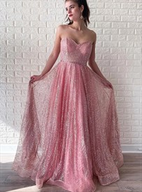 Pink A-Line Sequin Overlay Strapless Sweetheart Long Prom Party Dress